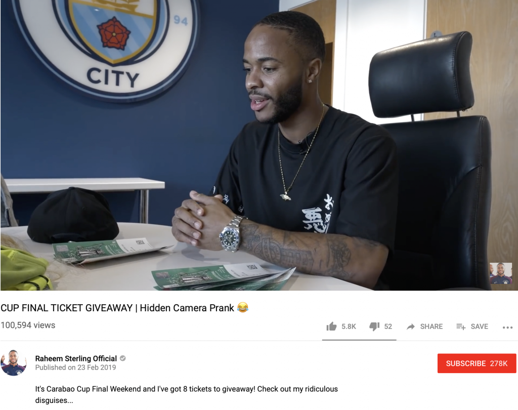 Raheem Sterling Youtube Channel