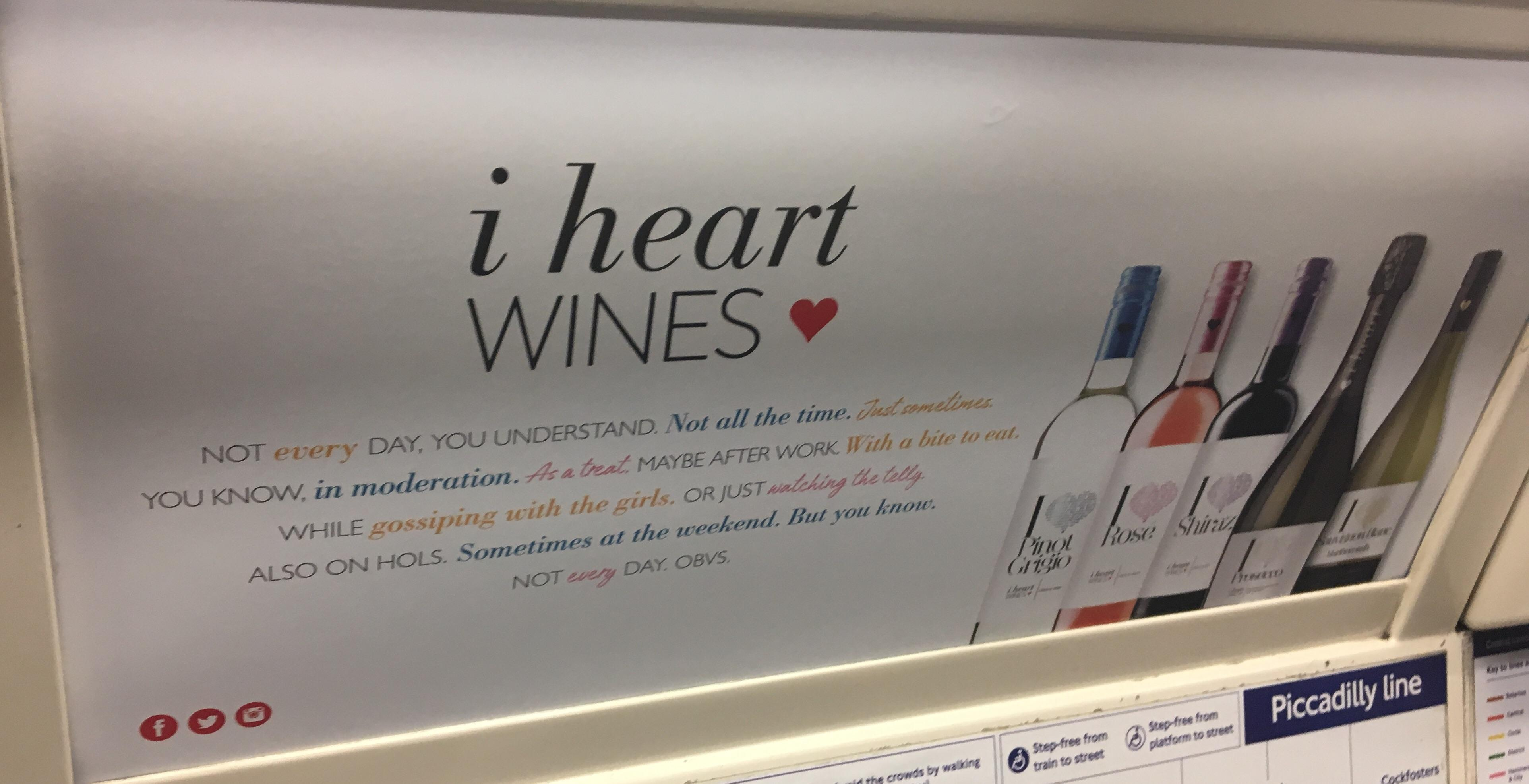 I heart wines ad - London tube