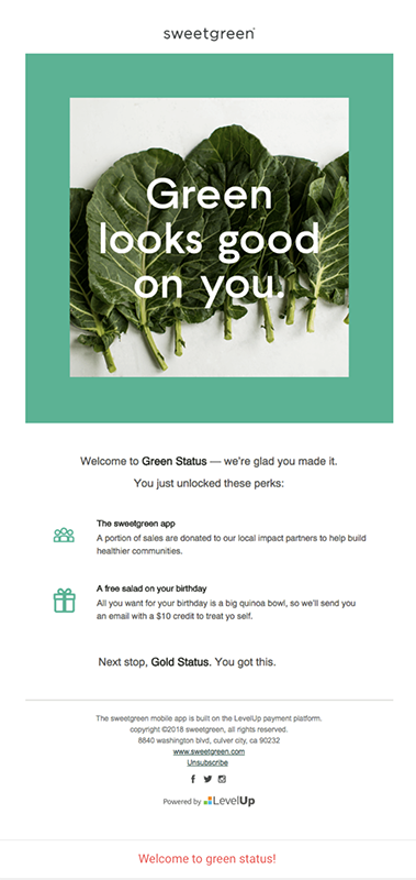 Sweetgreen - Engagement - Email