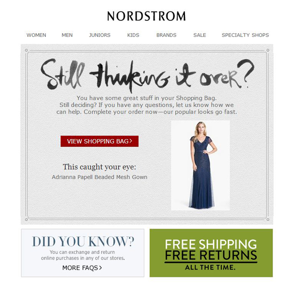 Nordstrom-Cart-Abandonment-Email