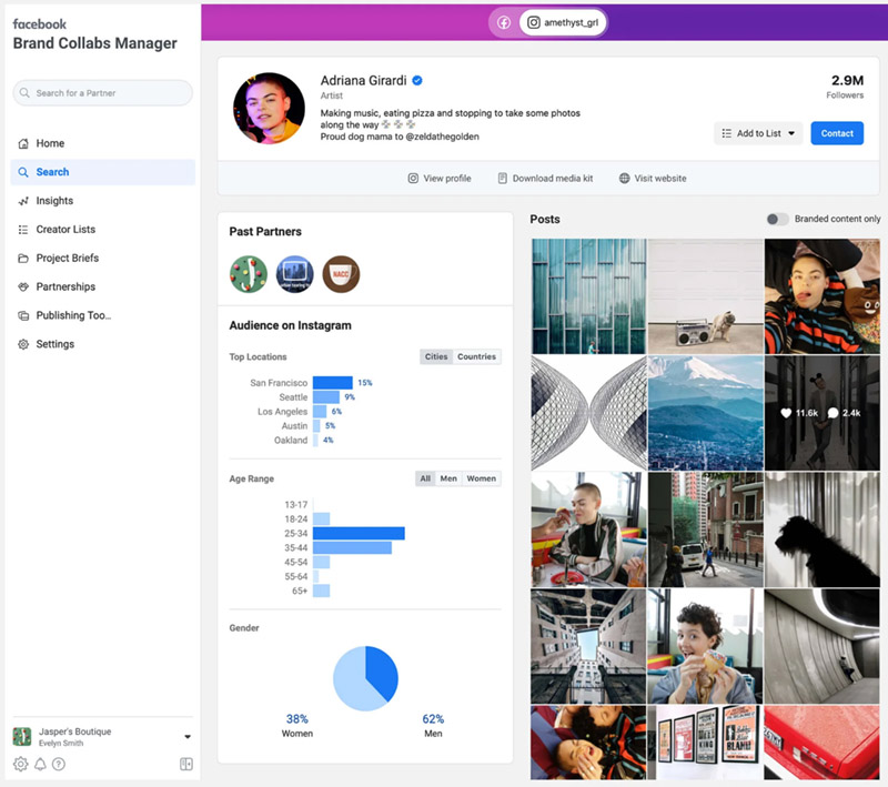 Facebook and Instagram Brand Collabs Manager